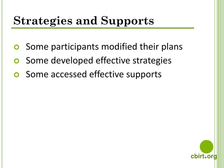 Strategies and Supports