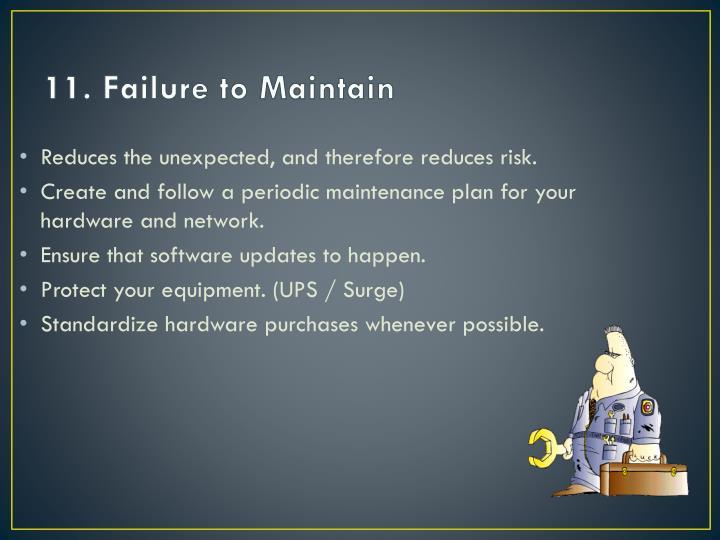 11. Failure to Maintain