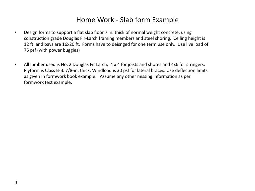 PPT - Home Work - Slab form Example PowerPoint Presentation - ID:1625797