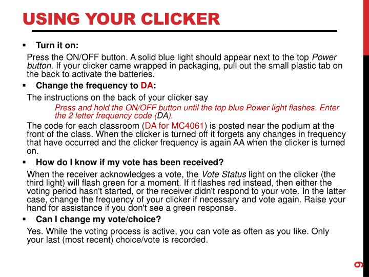 Using Your Clicker