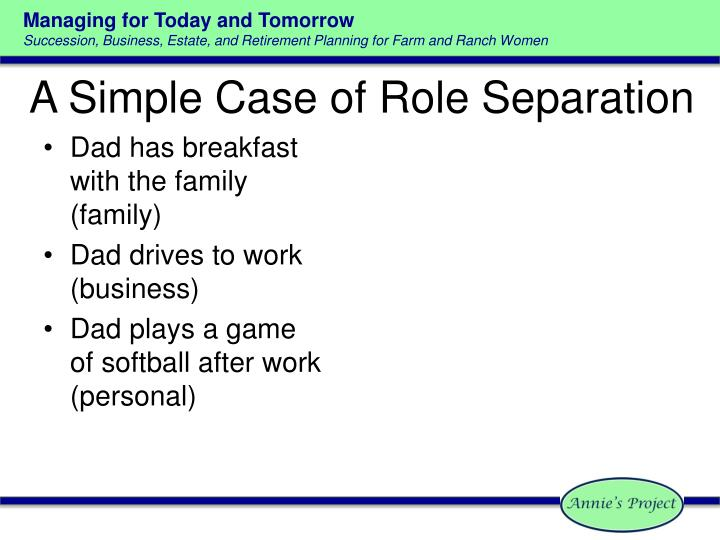 A Simple Case of Role Separation