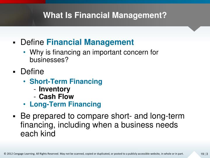 long-term financial management decisions essay The financial plan, or budget as it is also called, helps guide the day-to-day decision making of the business comparing forecast numbers to actual results yields important information about the.