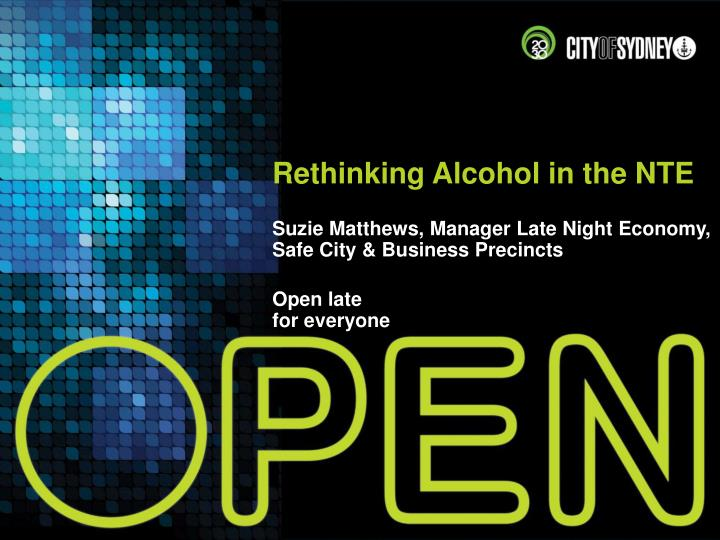 Rethinking Alcohol in the NTE