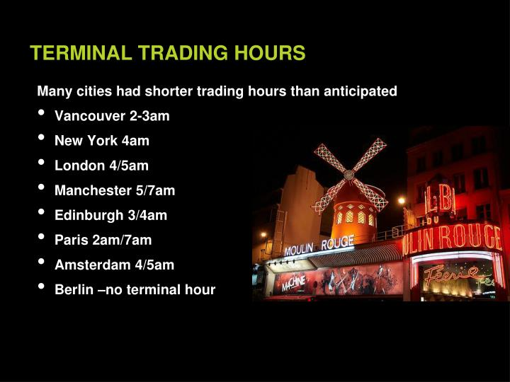 Many cities had shorter trading hours than anticipated