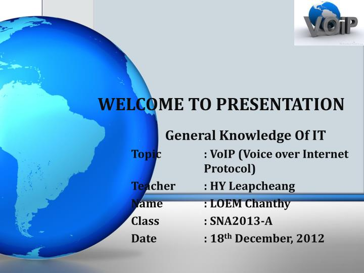 welcome to presentation n.