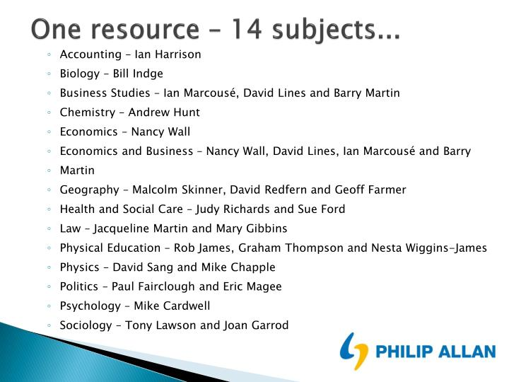 One resource – 14 subjects...
