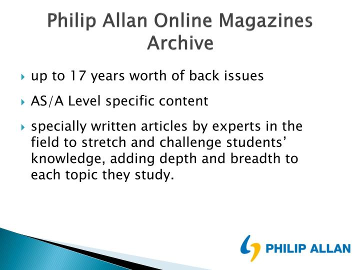 Ppt Philip Allan Online Magazines Archive And Philip Allan A Z