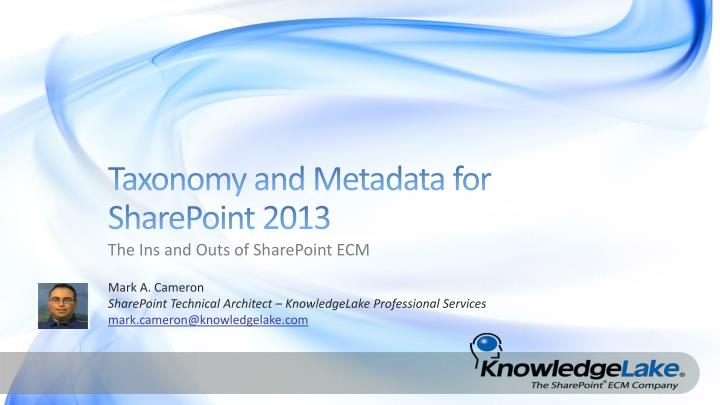 taxonomy and metadata for sharepoint 2013 n.