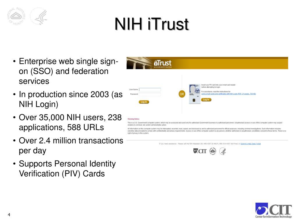 PPT - NIH iTrust PowerPoint Presentation - ID:1626417