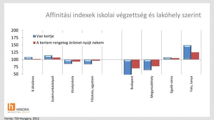 Affinitási indexek iskolai végzettség és lakóhely szerint