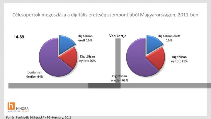 Célcsoportok megoszlása a digitális érettség szempontjából Magyarországon, 2011-ben