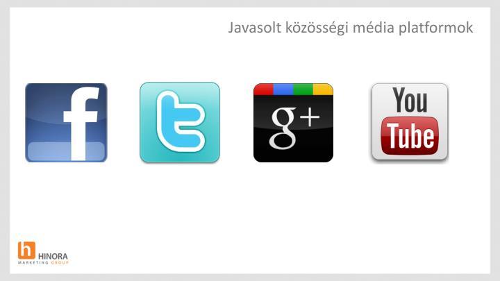 Javasolt közösségi média platformok