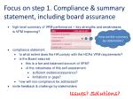 focus on step 1 compliance summary statement including board assurance