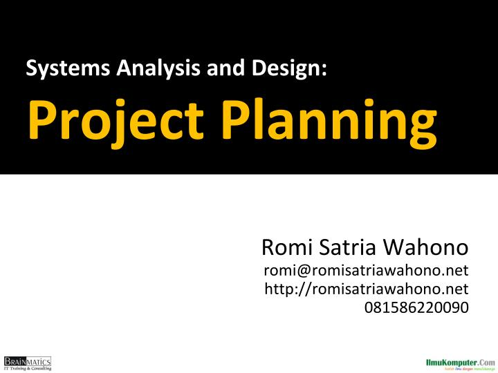 systems analysis and design project planning n.