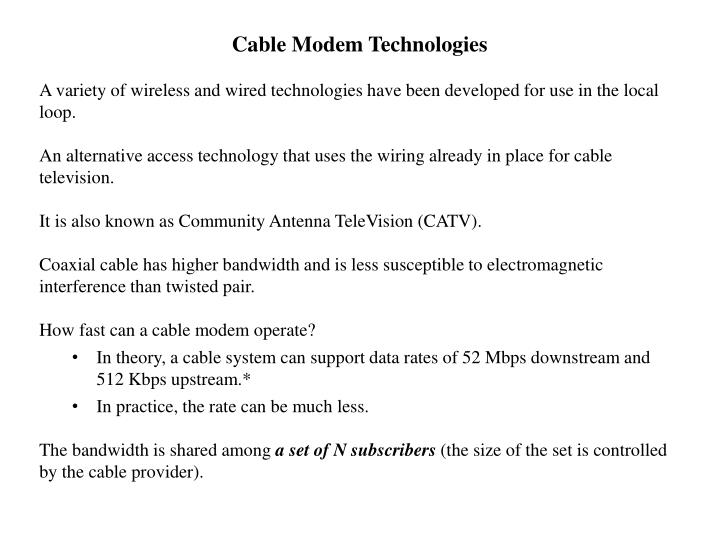 Cable Modem Technologies