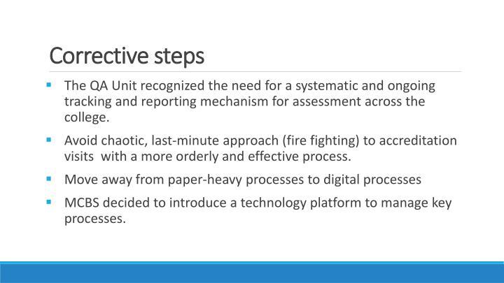 Corrective steps
