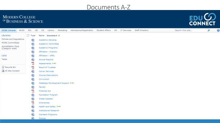 Documents A-Z