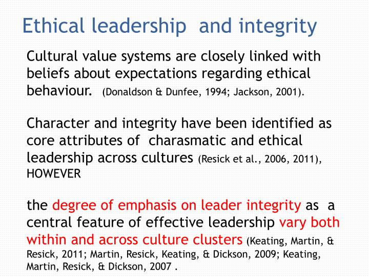 Ethical leadership  and integrity