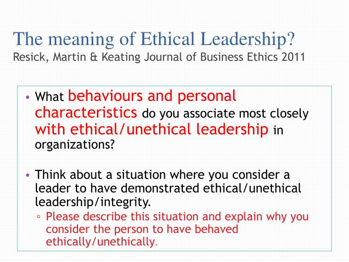 The meaning of Ethical