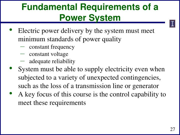 Fundamental Requirements of a Power System