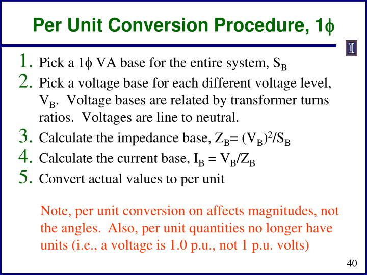 Per Unit Conversion Procedure, 1