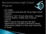 recommended high school program