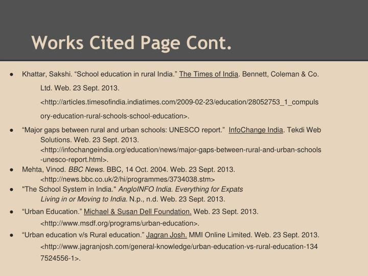 Works Cited Page Cont.
