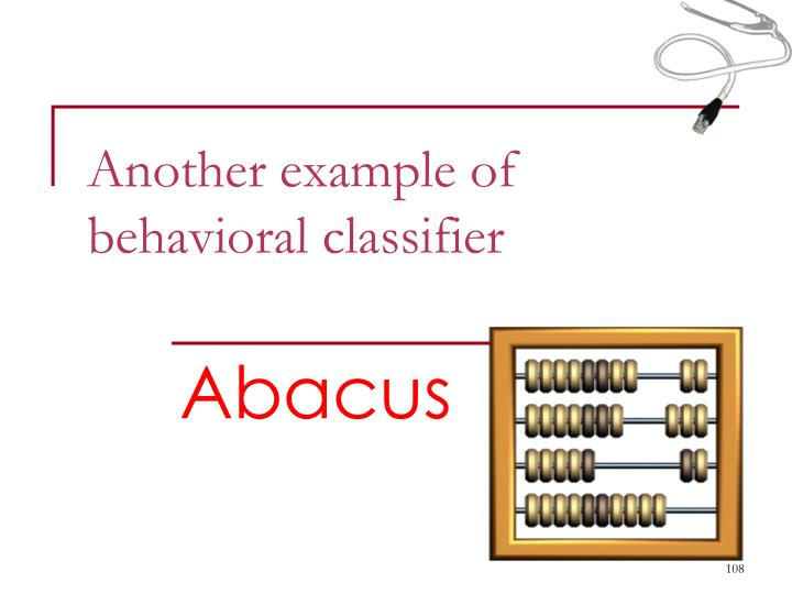 Another example of behavioral classifier