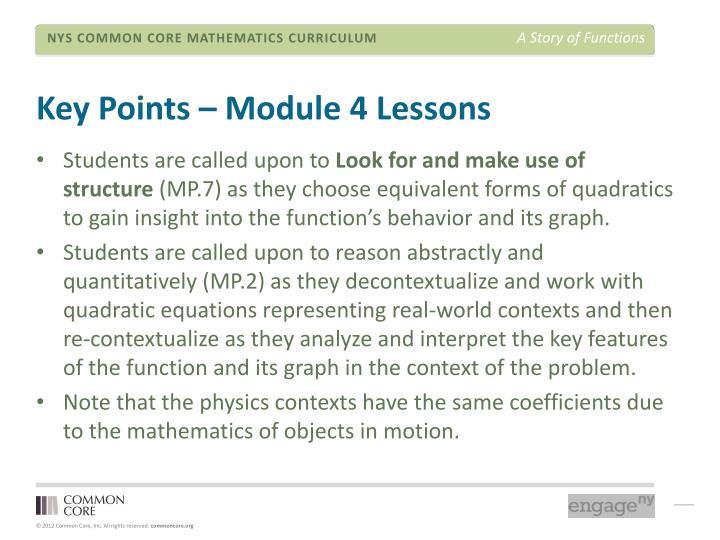 Key Points – Module 4 Lessons