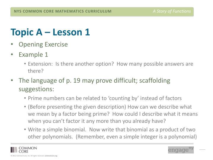 Topic A – Lesson 1