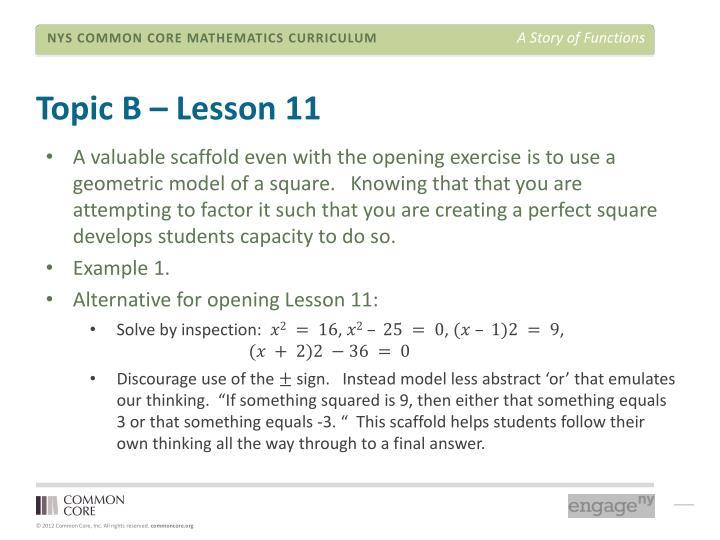 Topic B – Lesson 11