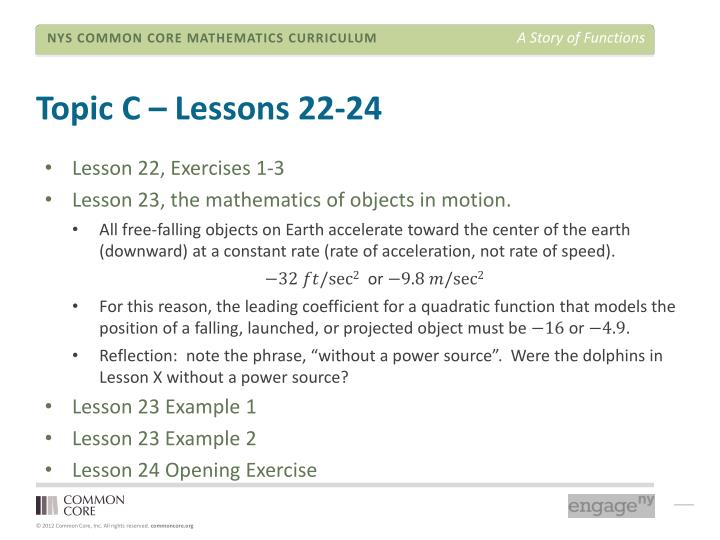 Topic C – Lessons 22-24