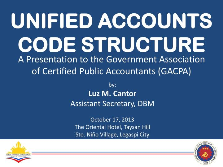PPT - UNIFIED ACCOUNTS CODE STRUCTURE PowerPoint