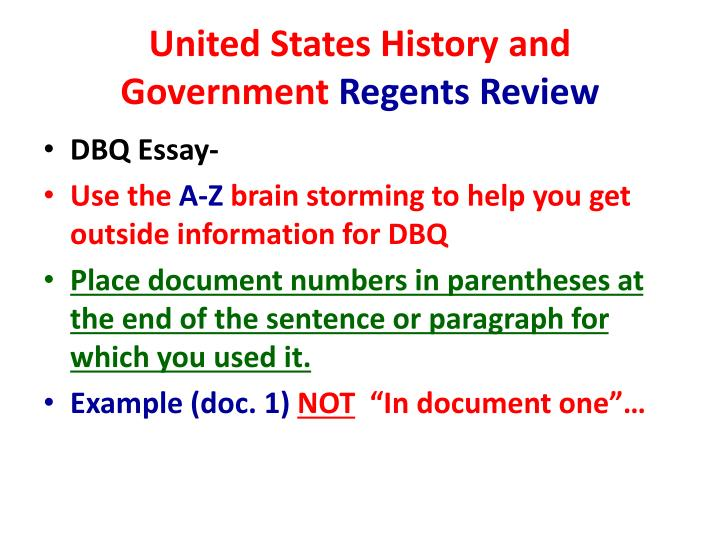 u.s history regents essay Regents exam in us history and  19 congress passed the interstate commerce act  the documents and your knowledge of united states history, write an essay in  dbq: ratifying the constitution - sfp online.