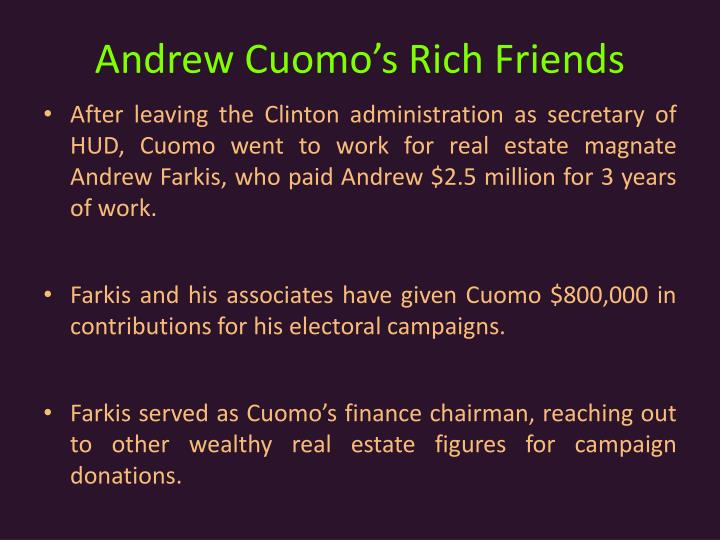 Andrew Cuomo's Rich Friends