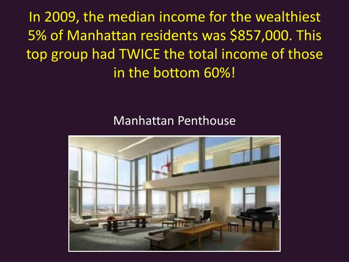 In 2009, the median income for the wealthiest 5% of Manhattan residents was $857,000. This top group had TWICE the total income of those in the bottom 60%!