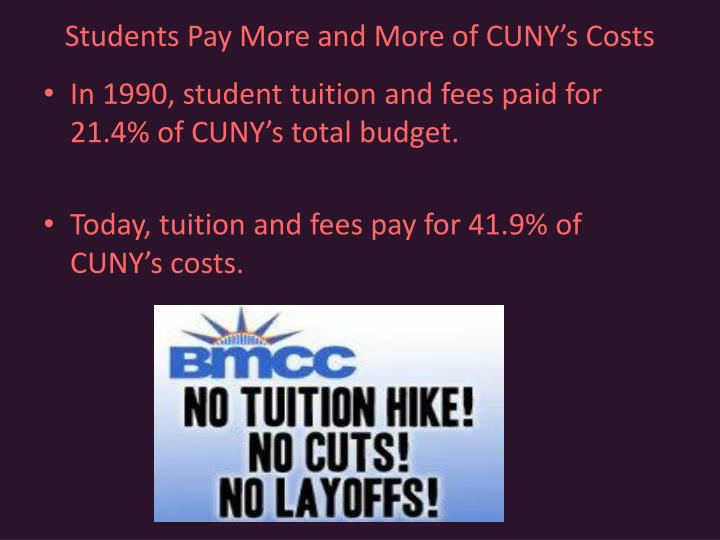 Students Pay More and More of CUNY's Costs