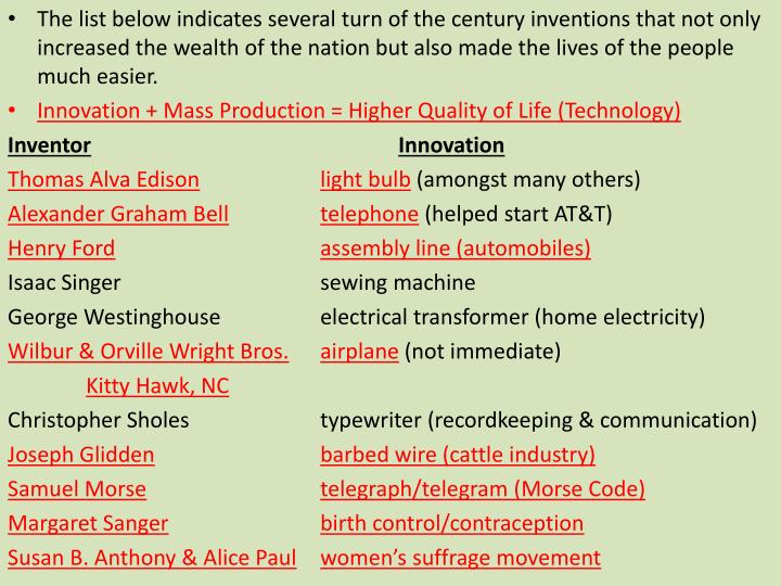 The list below indicates several turn of the century inventions that not only increased the wealth of the nation but also made the lives of the people much easier.