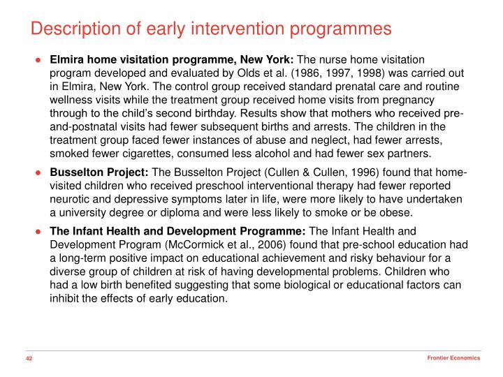 Description of early intervention programmes