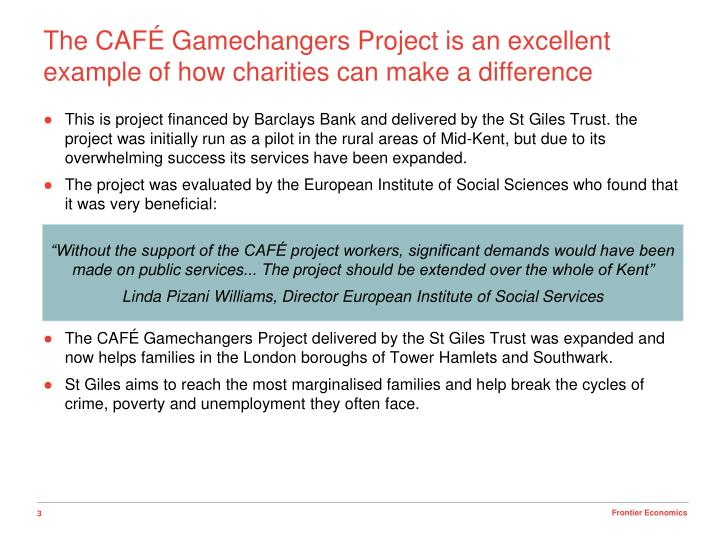 The caf gamechangers project is an excellent example of how charities can make a difference
