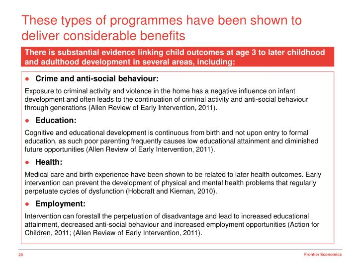 These types of programmes have been shown to deliver considerable benefits