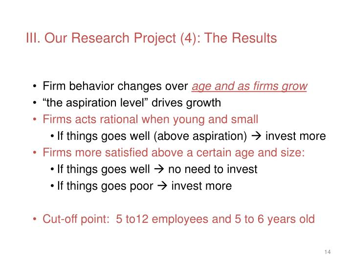 III. Our Research Project (4): The Results