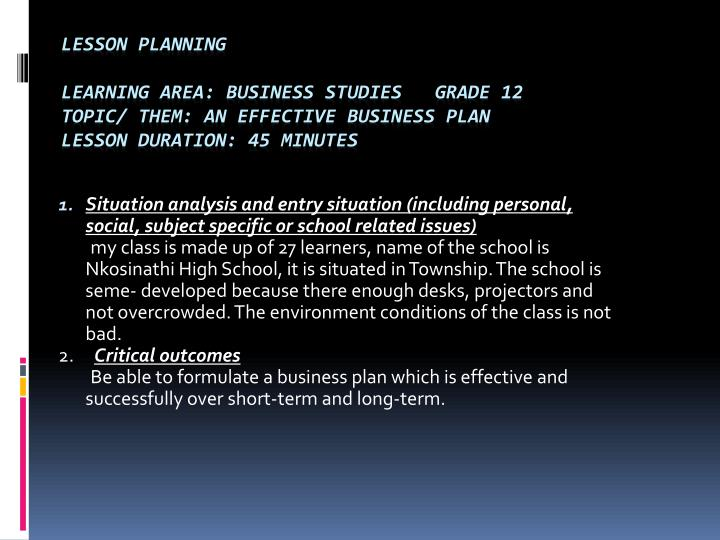 Situation analysis and entry situation (including personal, social, subject specific or school relat...
