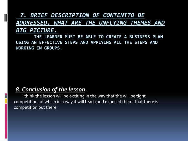 8. Conclusion of the lesson