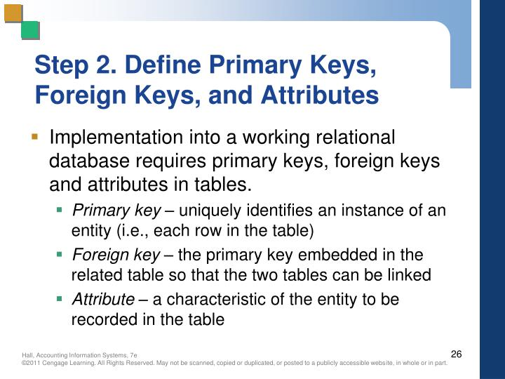 Step 2. Define Primary Keys, Foreign Keys, and Attributes