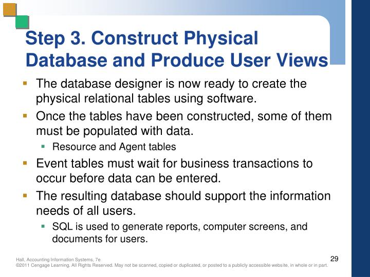 Step 3. Construct Physical Database and Produce User Views
