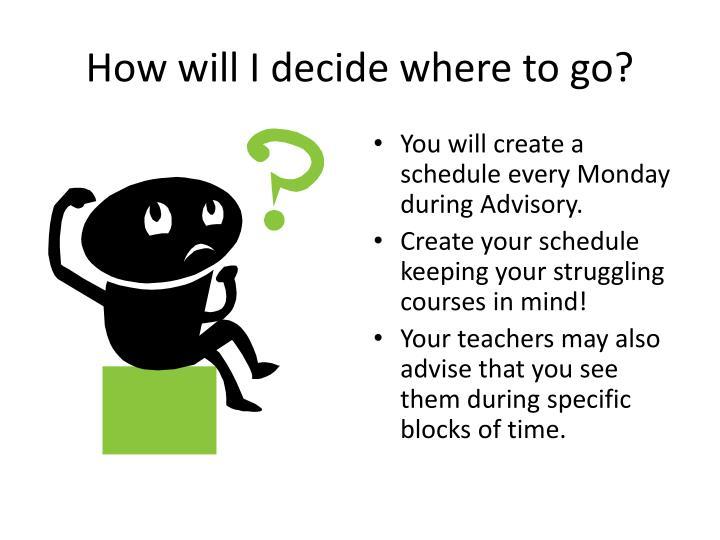 How will I decide where to go?
