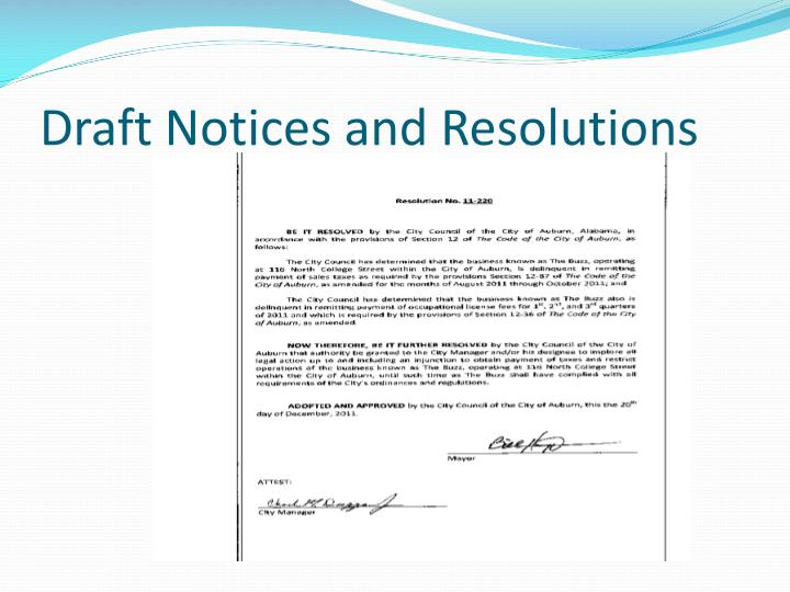 Draft Notices and Resolutions