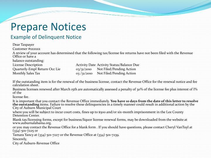 Prepare Notices