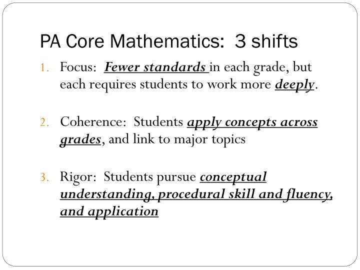 PA Core Mathematics:  3 shifts